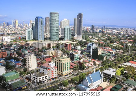 high rise condominiums and office blocks in rockwell part of crowded makati city in manila the philippines - stock photo
