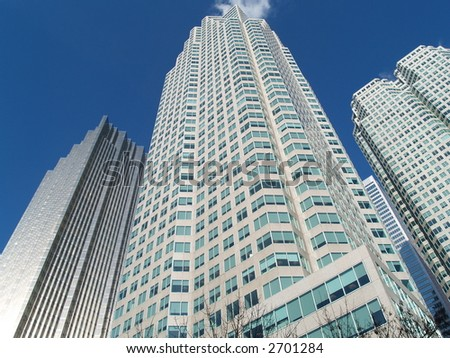 high rise financial buildings - stock photo