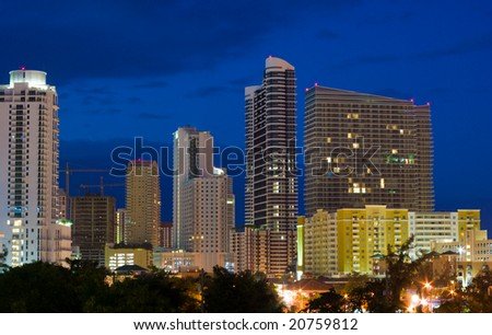 High Rise Miami Condo Buildings Shortly Before Sunrise - stock photo