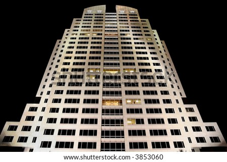High-rise Office Building at Night - stock photo