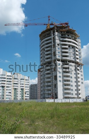 high-rise under construction - stock photo
