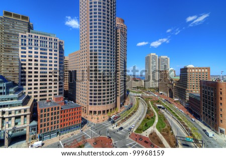 High rises along Atlantic Ave. in the financial district of Boston, Massachusetts. - stock photo