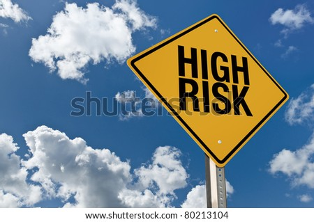 High risk road sign - stock photo