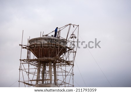 high risk worker - stock photo