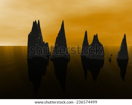 high rock in water - stock photo