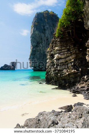 High Rocks Blue Seascape  - stock photo