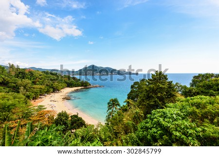 High scenic view beautiful landscape beach of Laem Sing Cape and Andaman Sea under blue sky in summer famous attractions in Phuket island of Thailand - stock photo