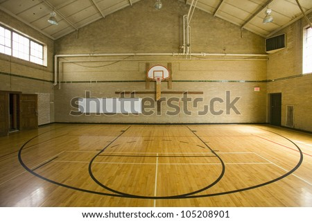 """High school basketball court and """"head of key"""" at Webster Groves High School in Webster Groves, Missouri - stock photo"""