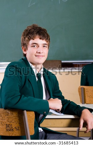 high school boy in classroom