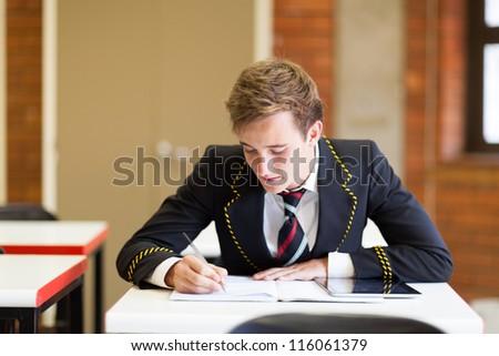 high school boy studying in classroom - stock photo