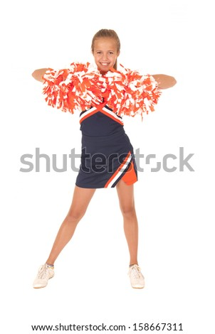 High school cheerleader view from front side - stock photo
