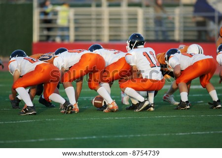 High school football line of scrimmage - stock photo