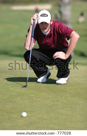 High school golf. Editorial use only.