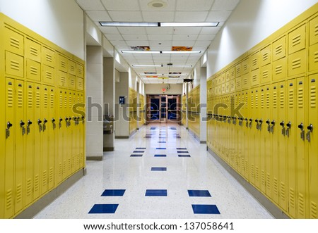High School hallway showing student lockers - stock photo