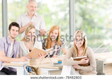 High-school or university young study group with mature professor