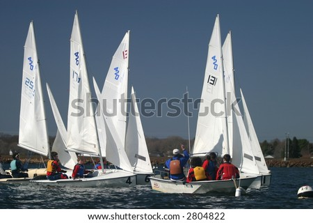 High school sailing competition. Editorial use.
