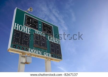HIgh School Score Board on a Blue Sky - stock photo