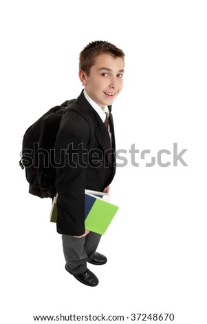 High school secondary student carrying books and a backpack - stock photo