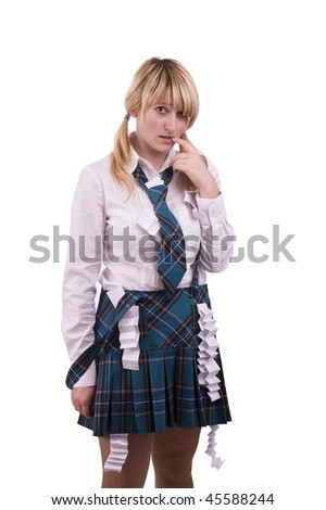 High school student is hiding crib sheet in the uniform. High schoolgirl is trying to cheat on the test.  Young female student is going to use cheat using it during math exam. - stock photo