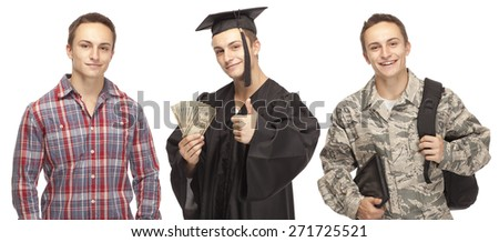 High School Student Joining US Military and receiving money for college - stock photo
