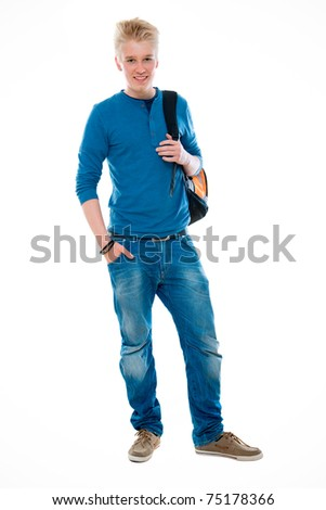 high school student smiling. Isolated on the white background - stock photo