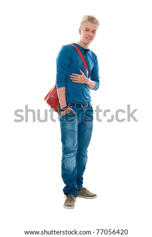 high-school student smiling. Isolated on the white background - stock photo