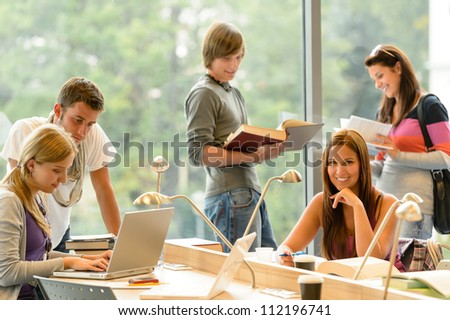 High-school students learning in study teens young education academic campus - stock photo