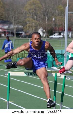 High School Track Hurdles - stock photo