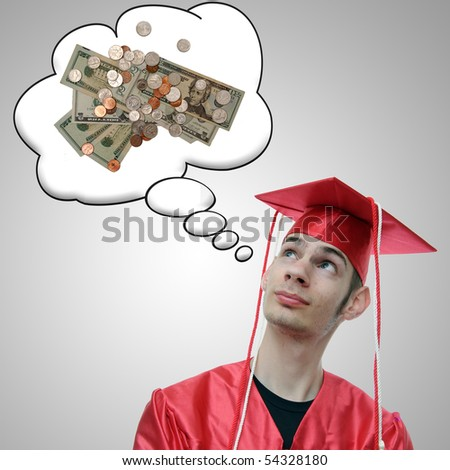 High school, university, or college graduate thinks about the debt he has and the money he will soon obtain now that he has a degree. - stock photo