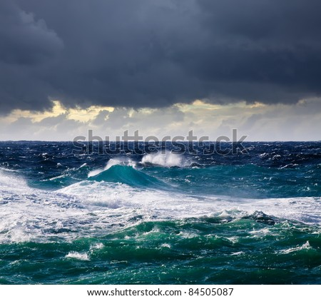 High sea wave during storm at  Mediterranean area - stock photo