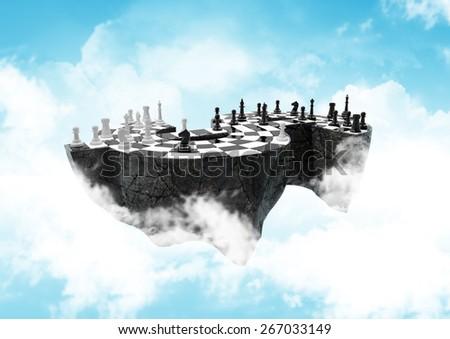 high, sky-high financial strategic war. path included - stock photo