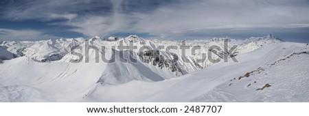 High Snow Mountains, Georgia, Guadauri - stock photo
