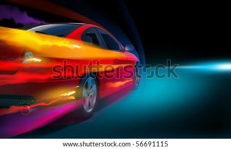 High-speed burning car - stock photo