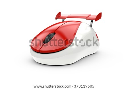 High speed computer mouse isolated on a white background - stock photo