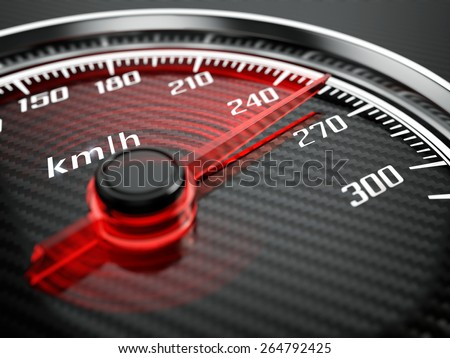 High speed concept - Car speedometer - stock photo