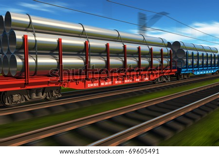 High speed freight train with metal pipes - stock photo