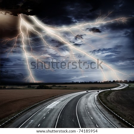 High-speed highway against the blue sky - stock photo