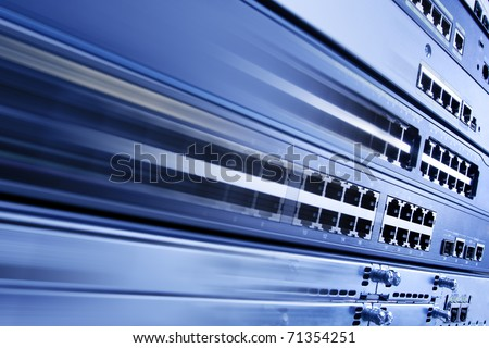High speed internet. Blurred telecommunication equipment. - stock photo