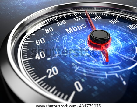 High speed internet connection concept - speedometer with internet connection speed.3d render - stock photo