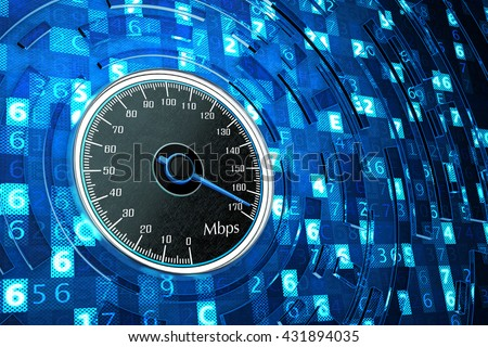 High speed internet connection, network performance and computer technology concept, speedometer dial on blue background with digital code data, 3d illustration - stock photo