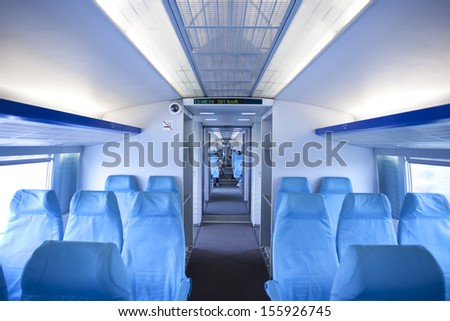high speed mode of  Magnetic train in running - stock photo