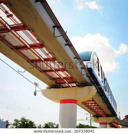 High Speed Monorail Train in Moscow, Russia, Instagram Effect - stock photo