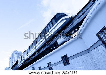 High speed monorail train on the overpass - stock photo