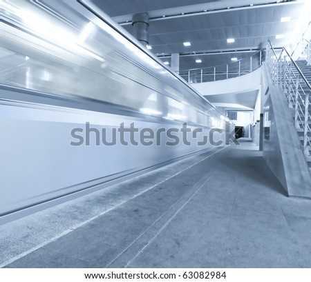 high-speed moving train in motion - stock photo