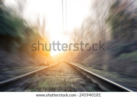 high speed on the railways. concept about transportation - stock photo