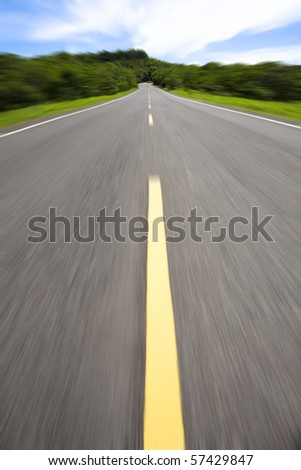 high speed pass through the empty road - stock photo
