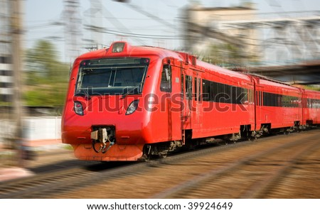 High-speed passenger train in motion