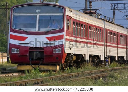 High speed passenger train on the way - stock photo