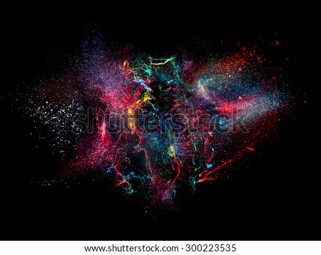 high speed photography of ink color explosion - stock photo