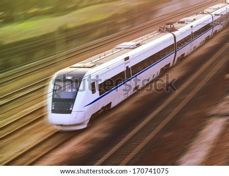 High-speed rail - stock photo